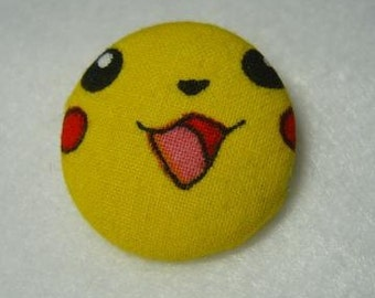 Button Style Pin with Pokemon Pikachu from up-cycled fabric