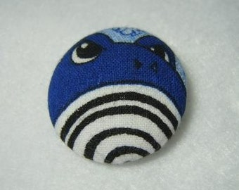 Button Style Pin with Pokemon Polliwhirl from up-cycled fabric