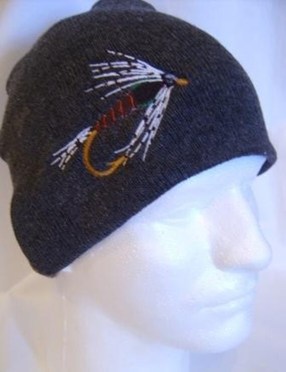 Martinez Black Fishing Fly Lure Beanie Skullcap Hat