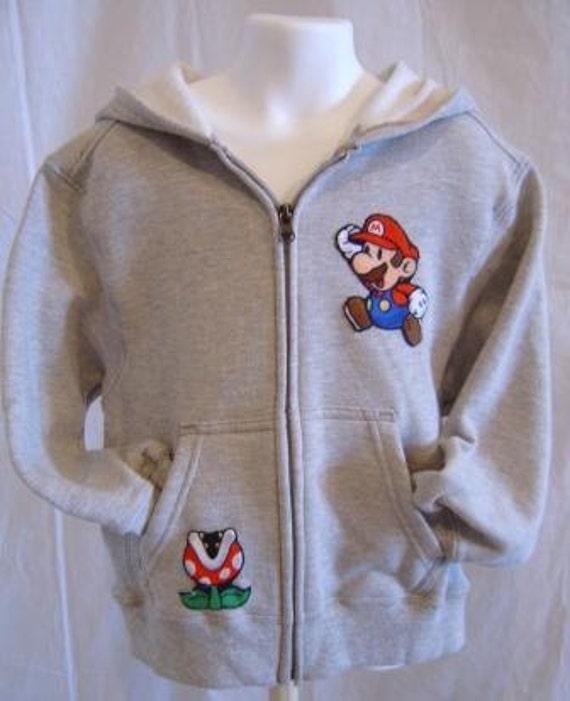 Mario w/ Piranha Plant Grey Hooded Sweatshirt Jacket Children Large
