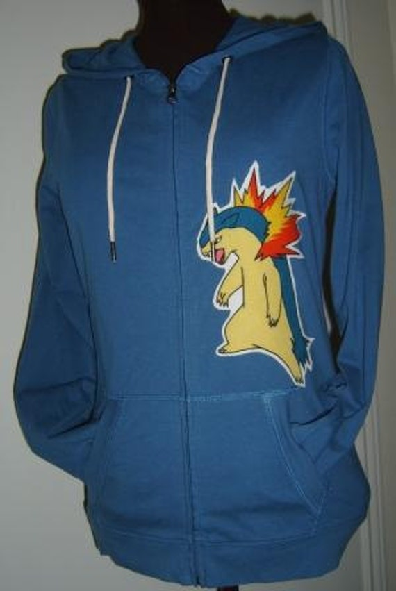 Typhlosion Cyndaquil Pokemon Blue Hoodie Jacket