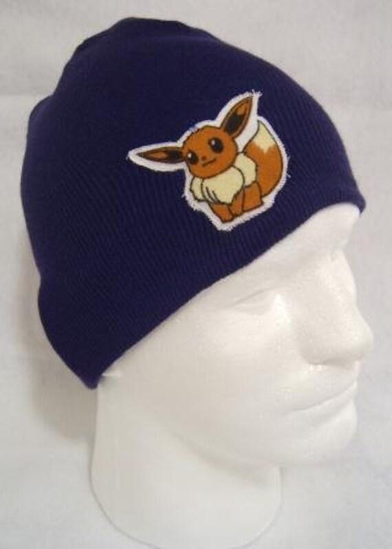 Pokemon Eevee Beanie Skullcap Hat - made with up-cycled Pokemon fabric