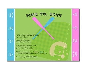 Gender Reveal Party Baseball Ticket Invitation - Baseball Shower Invitation