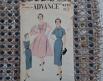 Advance 6780 Vintage Pattern - Bust 30  Sz 12 Dress 50s