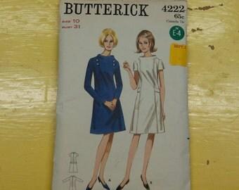 Butterick 4222 Vintage Pattern - Bust 31 Sz 10 Dress Complete 1960's