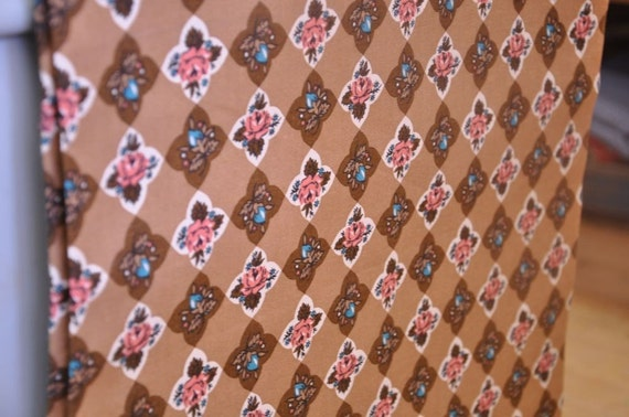 Pink & Brown Shabby Cottage Roses - New Old Stock Vintage Fabric 40s 50s 36 inches wide (Reserved)