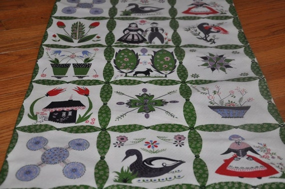 Whimsical Folk Art - Vintage Fabric 50s 60s Cottage Barkcloth NOS 35 in wide (Reserved for Sarah)