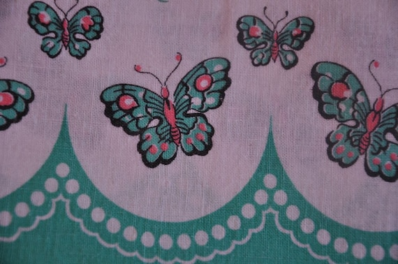 Oh So Fun Mod Butterfly and Tulips - Vintage Fabric Full Feedsack 40s 50s Novelty Border