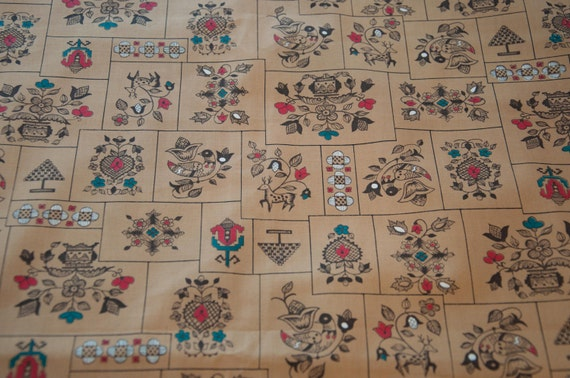 Whimsical Folk Art - Vintage Fabric 50s 60s Cottage Atomic New Old Stock  Deer Hearts Birds 36 in wide