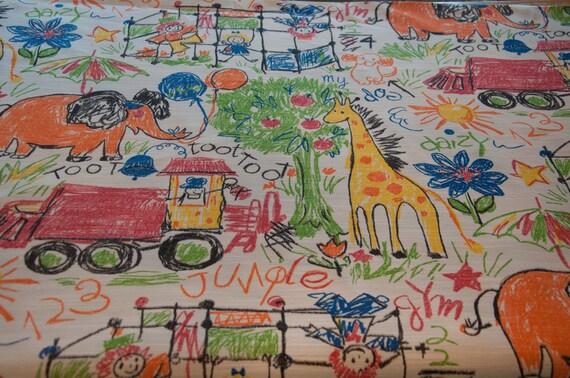 Crayon Sketch Animals - Vintage Fabric Whimsical Novelty Elephants Trucks Giraffes Kids New Old Stock