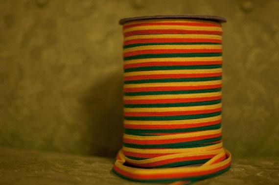 Fun Colorful Stripe  - 3 yards Vintage Fabric  Woven Trim Juvenile 60s 70s New Old Stock
