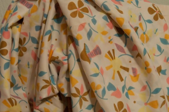 Happy Daisies and Mushrooms - NOS Vintage Fabric Mod Juvenile 60s 70s Eames