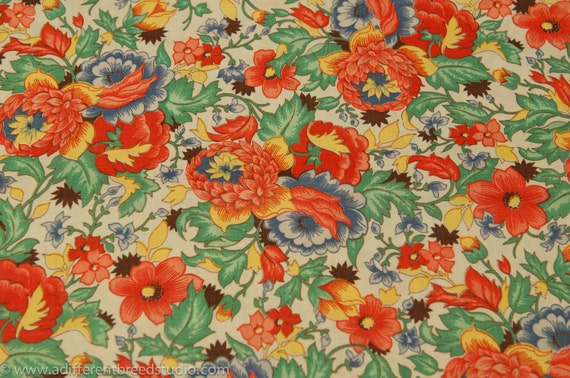 Amazing Colorburst Floral- Novelty Vintage Fabric 40s 50s NOS 36 in wide