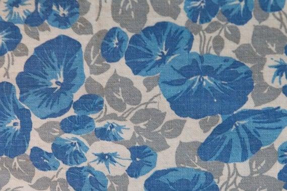 Bold Blue Petuniasl - Vintage Fabric Full Feedsack 30s 40s Novelty