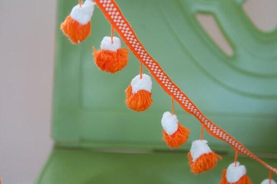 3 yards Vintage Tassels Fringe Orange White 60s 70s New Old Stock