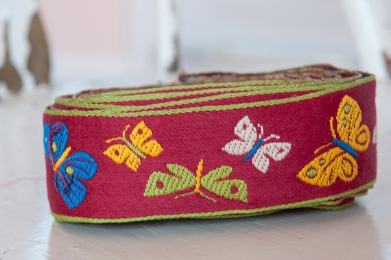 3 yards Mod Embroidered Vintage Trim- Juvenile Butterflies Whimsical 60s 70s New Old Stock