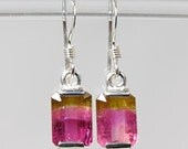 Natural Watermelon Tourmaline 3.41 carats t.w. Handset in .925 Sterling Silver Earrings NOW on sale