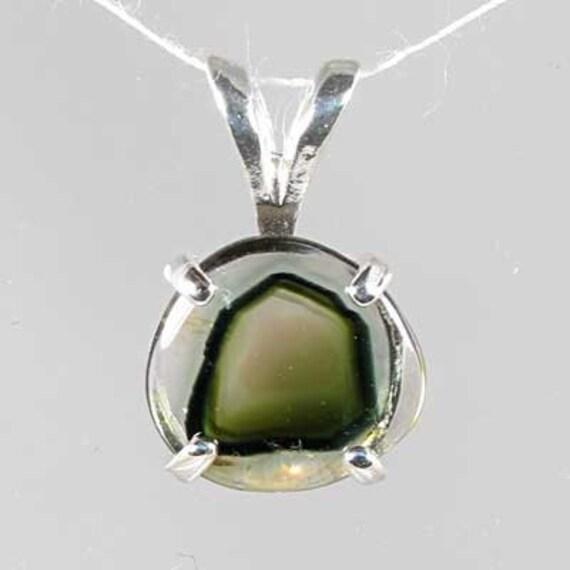 Natural Watermelon Tourmaline 1.39 carats Handset in .925 Sterling Silver Pendant  NOW on sale.