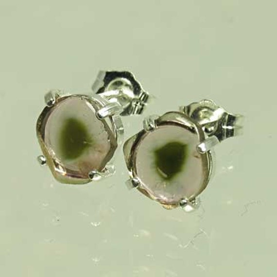 Natural Pink Watermelon Tourmaline 2.87 carats t.w. Handset in .925 Sterling Silver Earrings  NOW on sale.