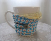 Cup Cozy coffee mug style vintage blue and plaid