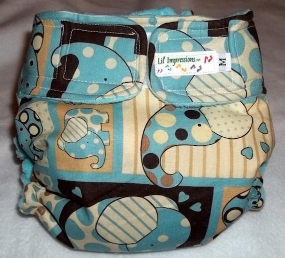 Lil' Impressions AI2 Pocket cloth diaper,Blue Elephant Squares, Any Size