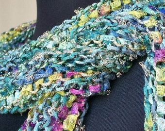 REDUCED Hand Knit Green, Yellow and Pink Scarf  Wrap - Garden Parfait