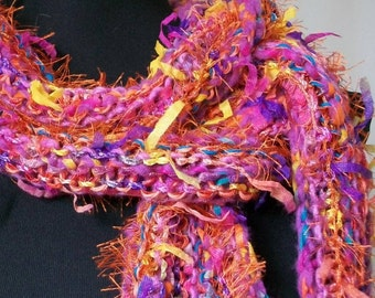 SALE Hand Knit Scarf Wrap in Purple, Pink and Orange - Life of the Party