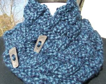 Hand Knit Blue Chunky Neckwarmer Neck Warmer Cowl