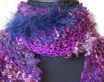 SALE Hand Knit Scarf Wrap in Purple
