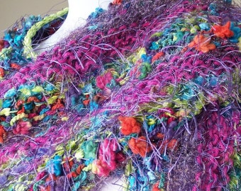 REDUCED! Hand Knit Shawl Wrap in Violet, Blue and Orange - Saint-Tropez
