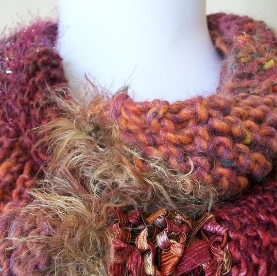 SALE Hand Knit Scarf Wrap in Orange, Brick and Brown - Sunset