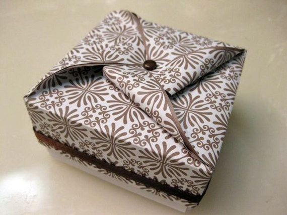 RESERVED Handmade Origami Decorative Box - Brown Floral Burst