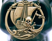 Black Pearl Necklace - Skull Crossbones Pirate Made in USA Brass Stampings - Free Domestic Shipping
