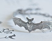 The Bat Bracelet - Antique Sterling Silver Plated American Made Brass Auspicious Feng Shui Good Fortune Symbol - Insurance Included