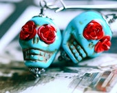 Frida's Flowers Earrings- TURQUOISE - Dyed Howlite Magensite BEADS - Free Domestic Shipping