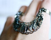 GRECIAN - double 2 finger chain rings - Soldered Leaves Charms - gunmetal
