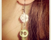 Itzcali earrings - LIME with Silver brass flower - Made in USA findings