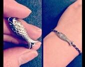 NEW - Number 12 - Vintage carved Lucite fish bracelet - antiqued pewter - Made in USA