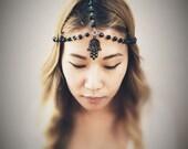 Hand Of Fatima Glass Beaded Chains HeadPiece - Black Hamsa - Domestic Free Shipping