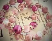 Ix Chel Bracelet - Mayan The Lady Rainbow Rhinestones Goth Skull Beaded - Pink Turquoise Howlite Skull Beads