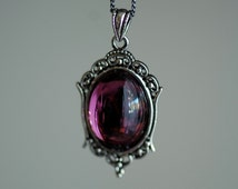 Katherine Necklace - Victorian Goth Vintage Swarovski Amethyst Crystal Cabochon - 2 Different Chains Materials - Insurance Included