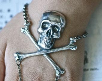 Lady Delahaye  bracelet ring - Skull Cross Bones Pirate - Made in USA Stamping - Free Domestic Shipping