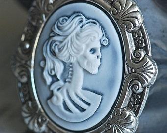 Miss Skeleton Tudor necklace - White Hazy Black Gothic Zombie Lady Cameo - Free Domestic Shipping