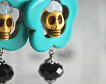 Rosita Earrings - HONEY - Gunmetal Brass Lever Backs - TURQUOISE CRYSTAL
