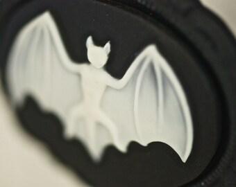 Mr. Batty Black Victorian necklace - IVORY BLACK Gothic Bat Cameo