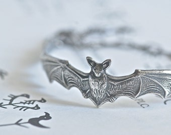 The Bat Bracelet - Antique Sterling Silver Plated American Made Brass - Free Domestic Shipping