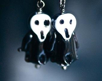 SCREAM Earrings - Lampwork Glass Ghost Beads - Free Domestic Shipping