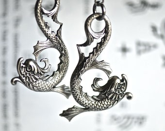 Koi Pisces Lariat Necklace - MADE IN USA Fish Dragon Stampings - Insurance Included