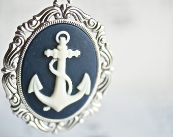 Pirate's Anchor Necklace - Rococo Ivory Navy Gothic Nautical Cameo - 40x30mm - Made in USA Setting - Insurance Included