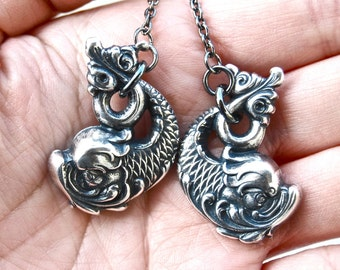 Koi Dragon Lariat Necklace - Antique Silver - Made in USA Stampings - Insurance Included